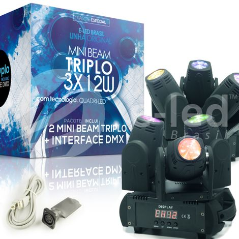 kit-promocional-mini-beam-triplo-com-interface-dmx-eled