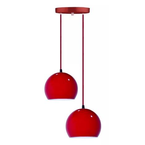 Pendente-duplo-meia-bola-vermelho-para-ambientes-internos