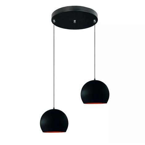 Lustre-meia-bola-duplo-preto-com-cobre-decorativo